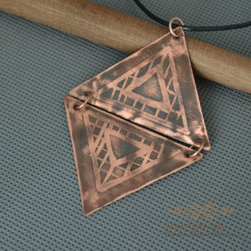 Triangle Pendant necklace Grinded copper Triangle two metal necklace Pickled copper Celtic pattern thong big male pendant women's gift mens