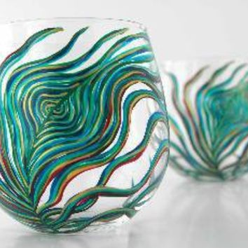 Peacock Stemless Glasses Set of 2 by marywibis on Etsy