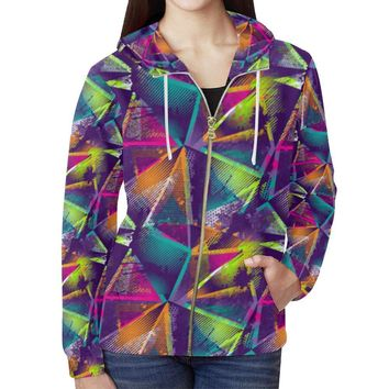 Colorful Prism Triangles Design 1 Women's All Over Print Full Zip Hoodie