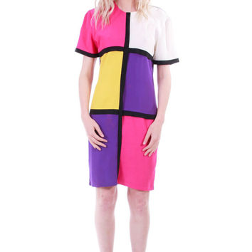 90s Vintage Color Block Dress Pink Purple Mondian Style Shift Dress Mod New Wave Club Kid Twiggy Clothing Womens Size Medium