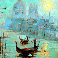 Fog Morning in Venice - OIL PALETTE KNIFE Painting on canvas by Dmitry Spiros. 36x28 in. (90 x 70 cm)