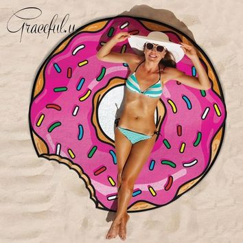Round Beach Covers-Up 2017 Food Printed Bikini Cover Up Bathing Suit Robe De Plage Swimsuit Tunic Pareo Blanket