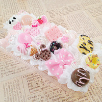 Clear iPhone 4/4S Case Pastel Decoden Phone Case with Cookies Candy Sweets Cabochon and Faux Pearl Flatbacks Kawaii Lolita Themed