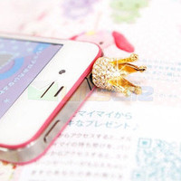 Gold Crystal Crown 3.5mm Anti Dust Earphone Jack Plug dust proof Cap for iPhone