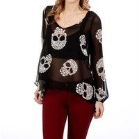 BlackWhite Floral Skull Top