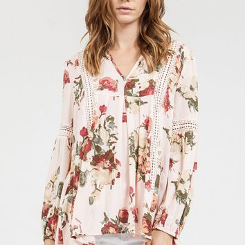 Pink Floral Crochet Lace Tunic Top