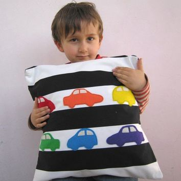 Nursery decor: kids pillow cover - rainbow cars on black and white stripes, great baby shower gift baby or little boy