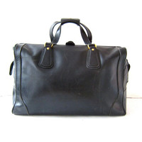 Vintage Mark Cross Italian Duffle. Black Leather Doctors Bag. Travel Bag. Carry On. Overnight bag.