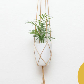 GOLD BROWN modern macrame hanging flower pot hanging planter waxed cotton plant hanger kitchen living room vase basket hanging flowers