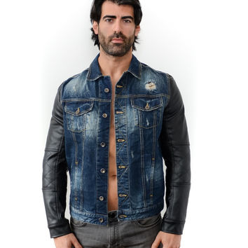 Seven Denim Men's Jean Collar Button Jacket with Faux Leather Sleeves