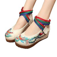 Chinese Embroidered Shoes Women Ballerina Cotton Elevator shoes Phoenix White