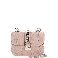 Valentino Lock Brilliant Small Shoulder Bag, Beige