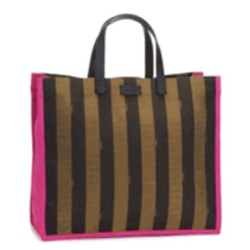 Fendi Pequin Shopping Tote in Pink