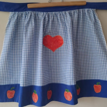 Plaid blue linen patchwork hand sewing kitchen  personalized apron