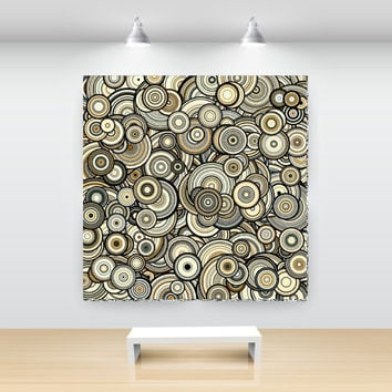 Yellow Sandstone Particle Circles, Abstract Art, open edition print, large sizes, by San Francisco artist Kristin Henry