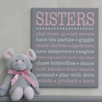 SISTERS Sibling Gifts, Baby Girl Nursery, Twin Girl Nursery Art, Playroom, Subway Art, Baby Girl Shower Gift, Painted Wall / Room Art Decor