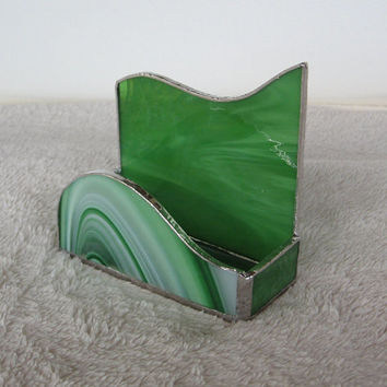 Stained Glass Business Card Holder--Green and White Swirl