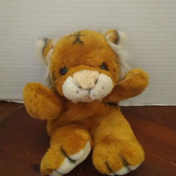 vintage jcpenney growling tiger full body hand puppet plush stuffed animal
