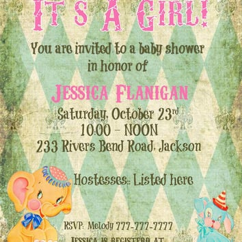 DIY Printable Baby Shower invitation for Girl or can be Made for BOY Elephant Rustic Background Retro