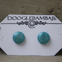 Mythical Mermaid Design- Metallic Blue Green Teal Turquoise Aqua Polka Dot Shinny Sparkle Glittery Fabric Button Earrings Stud Post- Wedding