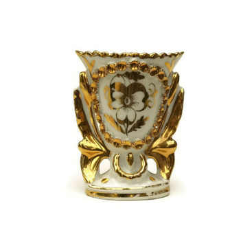 French Porcelain Vase. Gold and White Ceramic Vase. Porcelaine de Paris Wedding Vase.