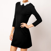 Black Bodycon Long Sleeve with Lace Collar Mini Dress