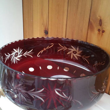 Bohemian Ruby red cut to clear glass bowl/ blood red glass fruit bowl/
