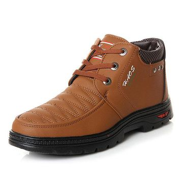 Men Color Blocking Moc Toe Warm Plush Lining Lace Up Ankle Boots