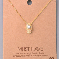 Dainty Hamsa and Stone Necklace - White, Rose or Turquoise