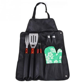 7 piece Stainless Steel BBQ Grill Tools Set with Apron and Hard Wood Handles