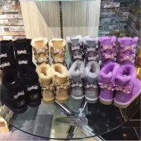 UGG Hot style wool queen diamond bow ultra female beauty with thick warm ugg boots two style(4-color)