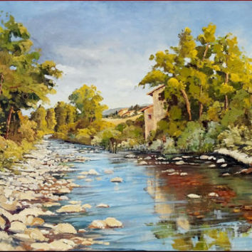 "Italian painting ""Fluvial landscape"" Tuscany original oil on canvas of Cristina Falcini Italia Italy"