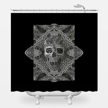 Skull Laces Shower Curtain