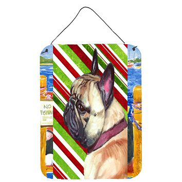 French Bulldog Frenchie Candy Cane Holiday Christmas Wall or Door Hanging Prints LH9594DS1216