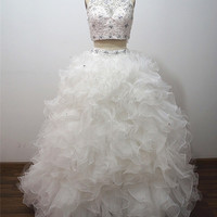 2015 Two Piece Cheap Ball Gowns Quinceanera Dresses For Girls Crystal Beaded White Organza Vestidos De 15 Anos Party Prom Dress