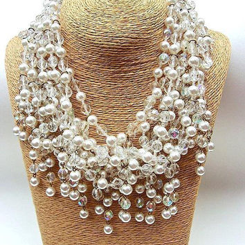 Glass Pearls   AB Crystals Festoon Necklace 621e163d0f