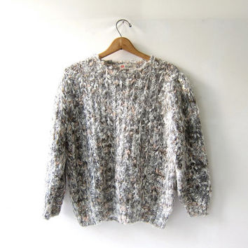 vintage wool sweater. chunky loose knit pullover. Gray, white & light pink colors.