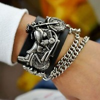 New Mens Motorcycle Decorative Leather Belt Watch