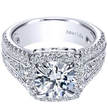 "Gabriel Amavida ""Dawn"" Cushion Halo Diamond Engagement Ring"