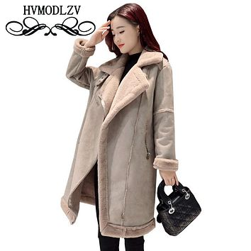 Winter Women Long wool Jacket Coat 2017 New Keep Warm Suede Suede Female Parka overcoat Fur Collar dest coats ls229