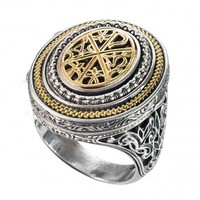 Gerochristo 2969N ~ Chi Rho-Chrismon - Solid Gold & Silver Medieval Poison Ring