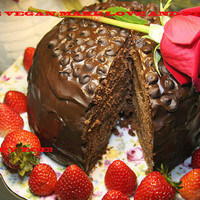 Vegan Double dark chocolate romantic waltz cake, Natural and Healthy ingredients,Love,Birthday,Wedding.