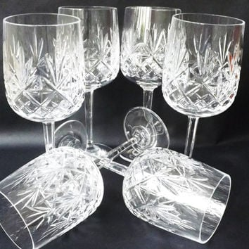 6 Vintage Crystal Wine Glasses, English Cut Crystal Stemware / Vintage Crystal Barware / Formal Dining Wine Glasses / Wedding Toast Glasses