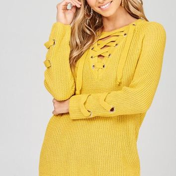 Mustard Lace Up Sweater