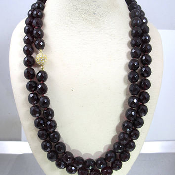 "Garnet Bead Necklace. Hand Knotted Garnet Beaded Opera Length Necklace 46"". Vintage Garnet Jewelry. January Birthstone"