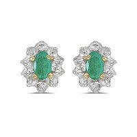 10K Yellow Gold Oval Emerald and Diamond Earrings (.60ct tgw)