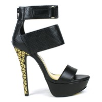 Mark and Maddux Divina-03 Perforated High Heel Platform Pump in Black @ ippolitan.com