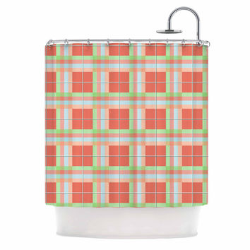 "afe images ""Summer Plaid Pattern"" Coral Pattern Shower Curtain"