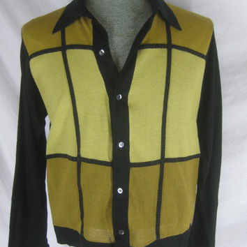 Vintage 50s 60s Campus Mens Black Gold Long Sleeve Sweater Shirt