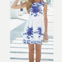 Porcelain Floral Print Flare Mini Dress